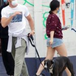 Chris Pine in a White Tee Walks His Dog in Los Angeles