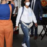 Christina Milian in a White Sweatshirt that Reads Good Mama Leaves Madeo Restaurant in Beverly Hills