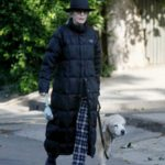Diane Keaton in a Black Hat Walks Her Dog in Brentwood