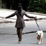 Diane Keaton in a Black Protective Mask Walks Her Dog in Brentwood