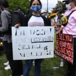 Eiza Gonzalez in a Protective Mask Joins the Black Lives Matter Protest at Pan Pacific Park in Los Angeles