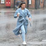 Francesca Allen in a Light Blue Coat Gets Caught in the Rain Shower in Loughton, Essex