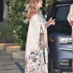 Goldie Hawn in a Floral Dress Out for Dinner in Malibu