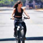 Hayley Erbert in a Black Top Does a Bike Ride Out with Derek Hough in Los Angeles 06/11/2020