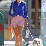 Helena Christensen in a Protective Mask Walks Her Dog in New York City