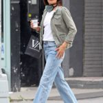 Helena Christensen in a White Sneakers Goes Shopping in New York