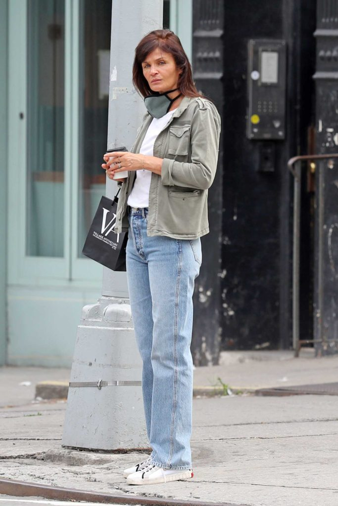Helena Christensen in a White Sneakers
