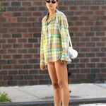 Irina Shayk in a Green Plaid Shirt Was Seen Out in New York
