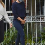 Jennifer Garner in a Gray Cap Steps Out from a Gym Class with a Friend in Los Angeles