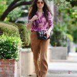 Jessica Gomes in a Beige Coach Corduroy Trousers Was Seen Out in Los Angeles