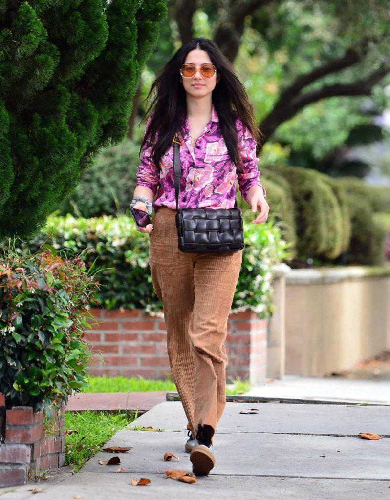Jessica Gomes in a Beige Coach Corduroy Trousers