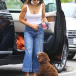 Jordana Brewster Arrives with Her Dog at Caffe Luxxe in Brentwood