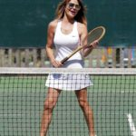 Lizzie Cundy Shows Her Tennis Skills During a Game with a Friend in London