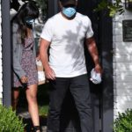 Matt Damon in a White Tee Leaves Ben Affleck's House Out with His Wife Luciana Barroso in Brentwood