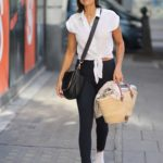 Melanie Sykes in a White Sneakers Arrives at Radio Show in London