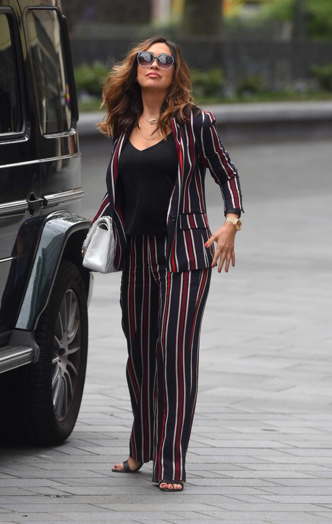 Myleene Klass in a Striped Suit