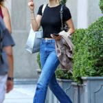Nicola Peltz in a Black Cropped T-Shirt Was Seen Out in New York