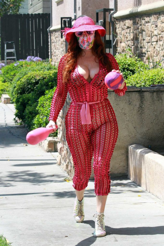 Phoebe Price in a Red See-Through Outfit