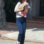 Scout Willis in a Gray Tee Carries Her Dog in Los Angeles