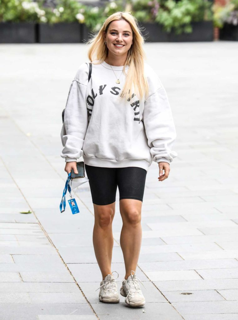 Sian Welby in a Black Spandex Shorts