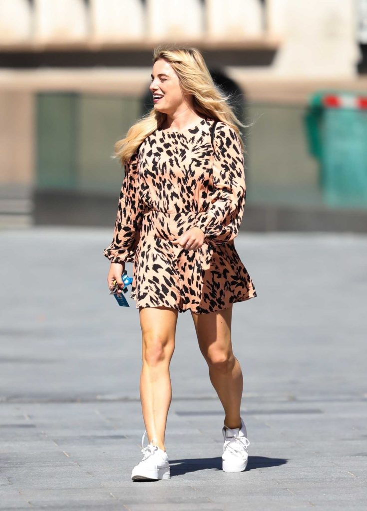Sian Welby in an Animal Print Playsuit