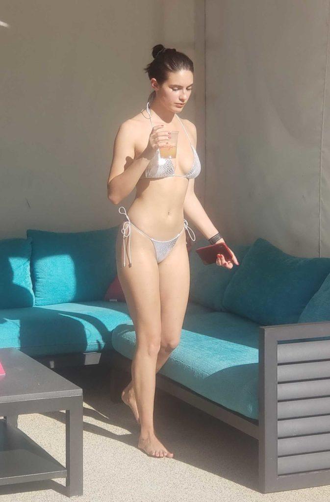 Tao Wickrath in a Silver Bikini