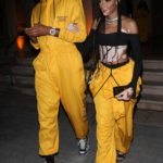 Winnie Harlow in a Yellow Jumpsuit Leaves Teyana Taylor's Listening Party in Beverly Hills