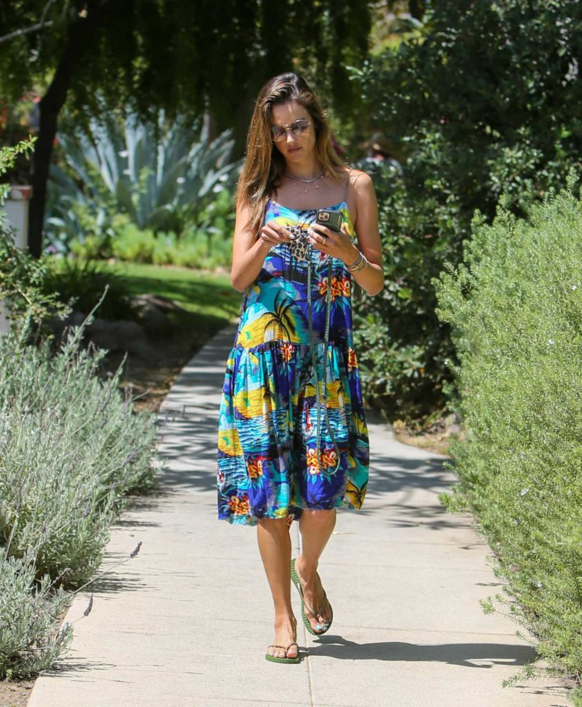 Alessandra Ambrosio in a Floral Dress