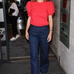 Alex Jones in a Red Blouse Arrives at BBC The One Show Studios in London