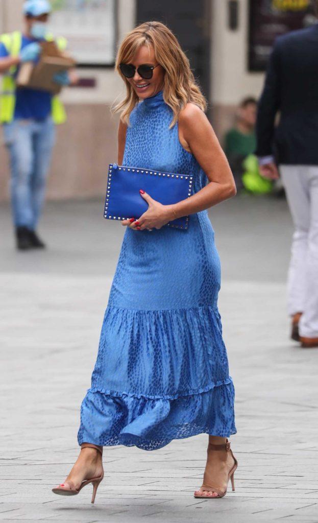 Amanda Holden in a Blue Sleeveless Dress