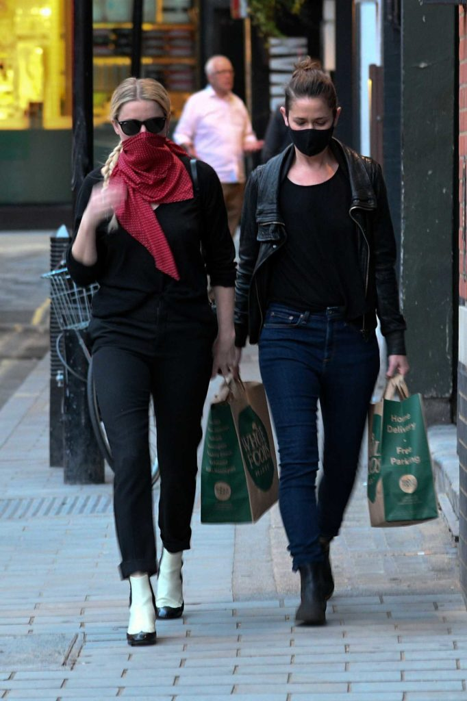 Amber Heard in a Red Bandana as a Face Mask