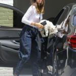Ana de Armas in a White Long Sleeves T-Shirt Arrives at Ben Afffleck's Home with Her Dog in Brentwood