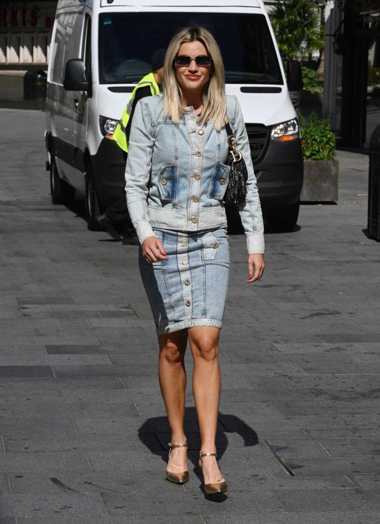 Ashley Roberts in a Blue Denim Suit