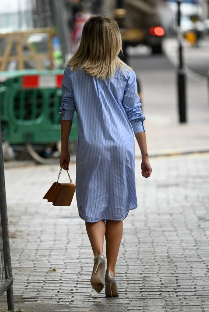 Ashley Roberts in a Striped Dress