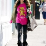 Caprice in a Pink Sweatshirt Was Seen Out  in London