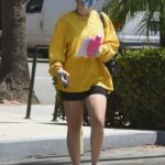 Charli XCX in a Yellow Long Sleeves T-Shirt Leaves a Gym in Los Angeles