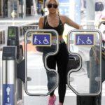 Chloe Ferry in a Black Sports Bra Arrives at Kings Cross Station in London
