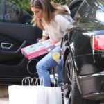Cindy Crawford in a Beige Sweater Arrives at a Friends House in Santa Monica