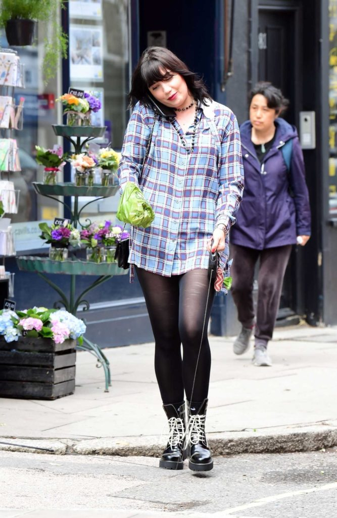 Daisy Lowe in a Plaid Shirt