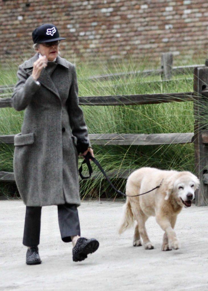 Diane Keaton in a Gray Wool Coat