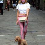 Elena Barolo in a White Tee Walks Her Dog in Milan