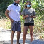 Emma Krokdal in a Gray Tee Enjoys an Early Morning Hike Out with Dolph Lundgren in Beverly Hills