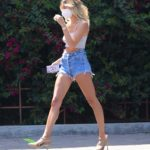 Hailey Bieber in a Blue Daisy Duke Shorts Was Seen Out in Los Angeles