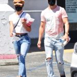 Hayley Erbert in a Blue Ripped Jeans Was Seen Out with Derek Hough in Studio City