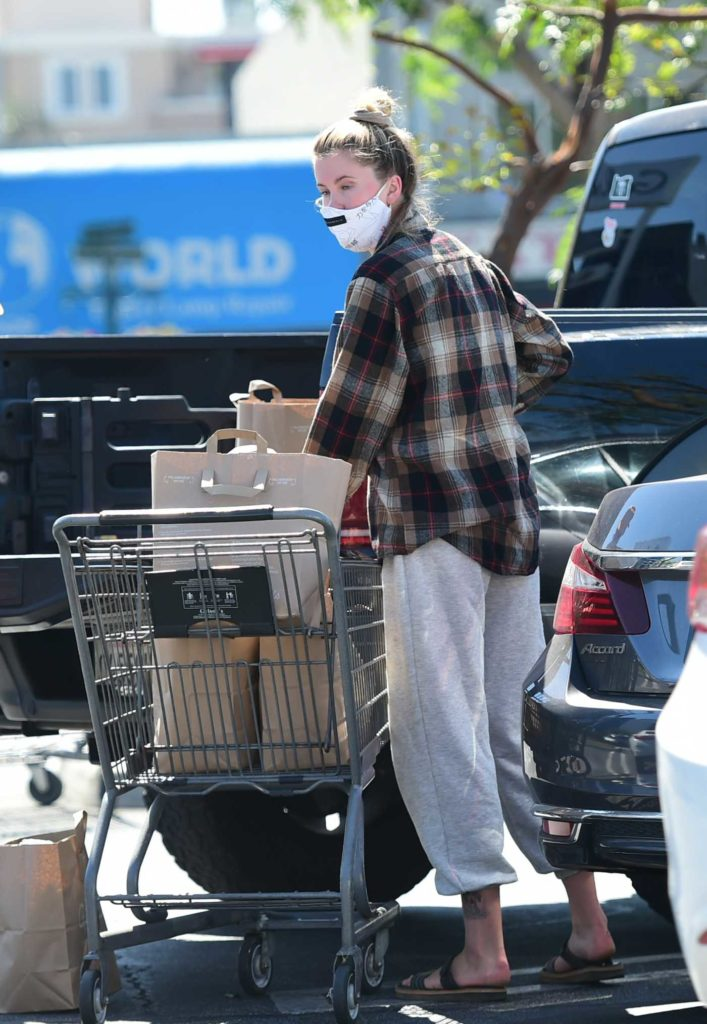 Ireland Baldwin in a Gray Sweatpants