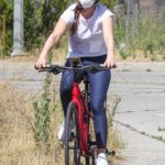 Isla Fisher in a White Tee Does a Bike Ride in Hollywood