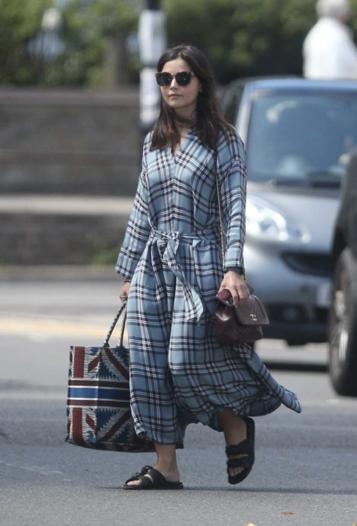 Jenna Coleman in a Gray Plaid Dress
