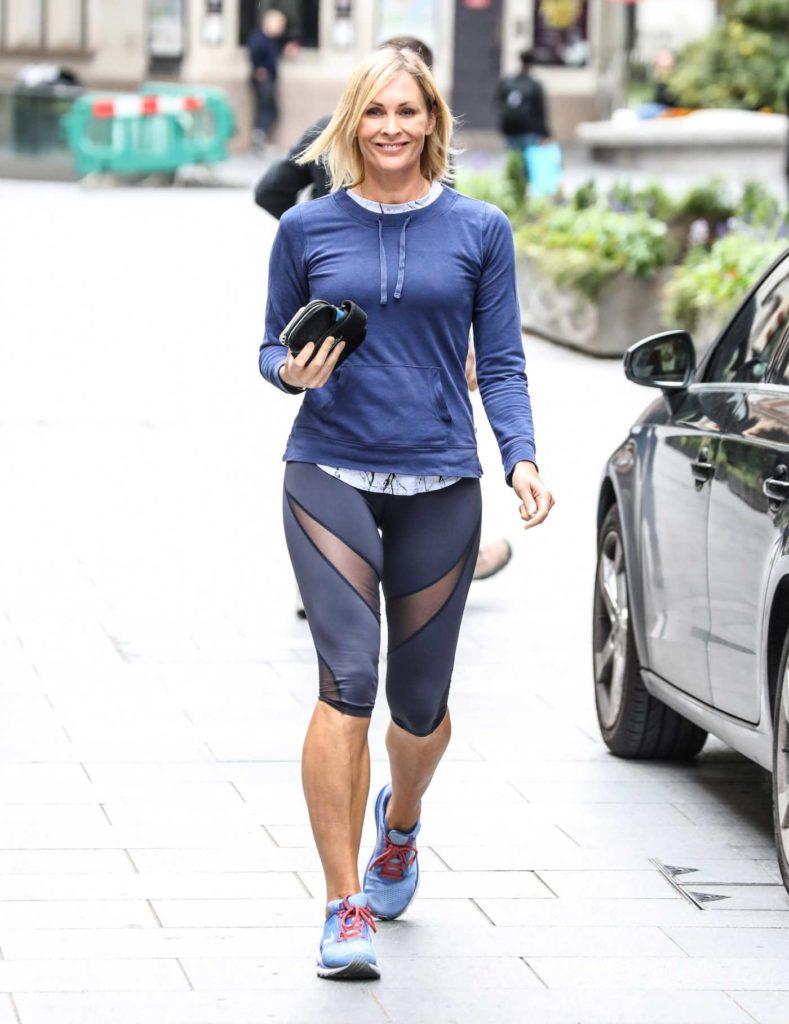 Jenni Falconer in a Blue Long Sleeves T-Shirt