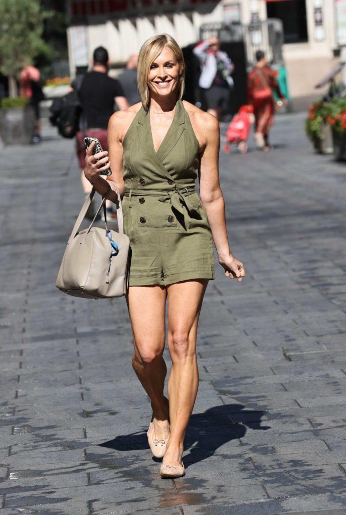 Jenni Falconer in a Khaki Playsuit