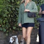 Kate Moss in a Green Shirt Walks Her Dog Out with Sadie Frost in London
